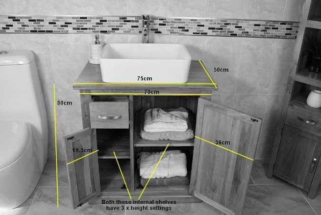 Oak Top Vanity Unit With Lots of Storage - Dimensions