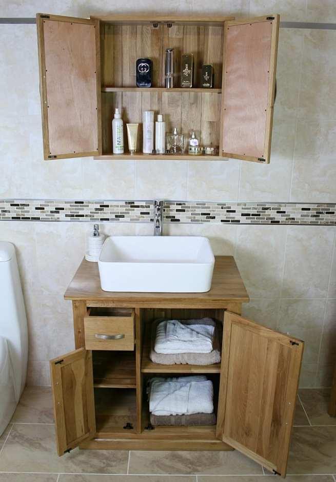 Oak Top Vanity Unit & White Rectangle Ceramic Basin with Oak Storage Cabinet - Set