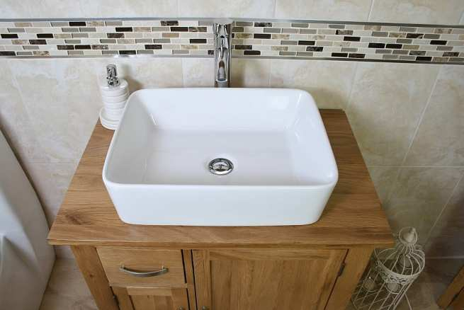 Rectangle White Ceramic Bathroom Basin on Oak Top Vanity Unit - Closeup