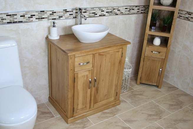 White Oval Ceramic Basin & Oak Top Vanity Unit Set