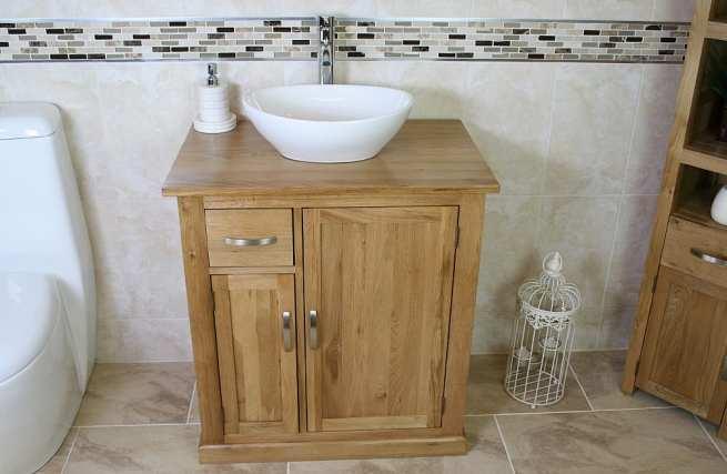Oak Top Vanity Unit with Oval White Ceramic Bathroom Basin