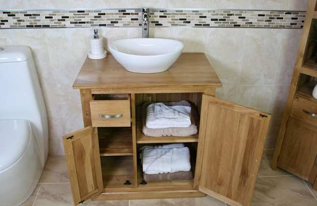Oak Top Vanity Unit with Oval White Ceramic Basin & Lots of Storage