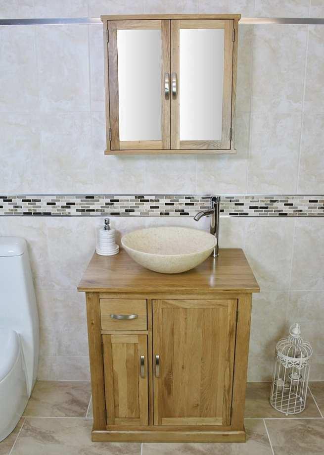 Cream Marble Basin Vanity Unit and Mirror Cabinet Oak Storage