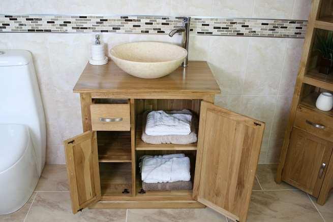 Cream Marble Single Basin Vanity Unit