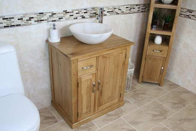 White Marble Basin on Oak Top Vanity Unit
