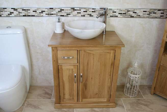 Marble Basin and Oak Top Vanity Unit with Storage