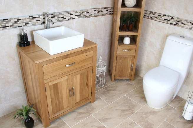 Square White Ceramic Basin on Oak Vanity Unit Far View