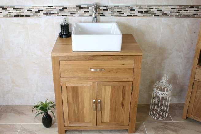 Square Ceramic White Basin on Oak Vanity Unit with Chrome Mixer Tap