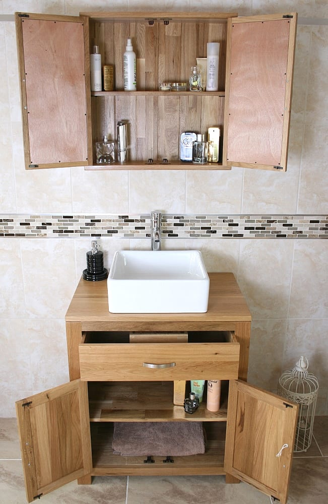 White Square Ceramic Basin with Chromed Mixer Tap on Oak Vanity Unit with Open Doors & Drawers