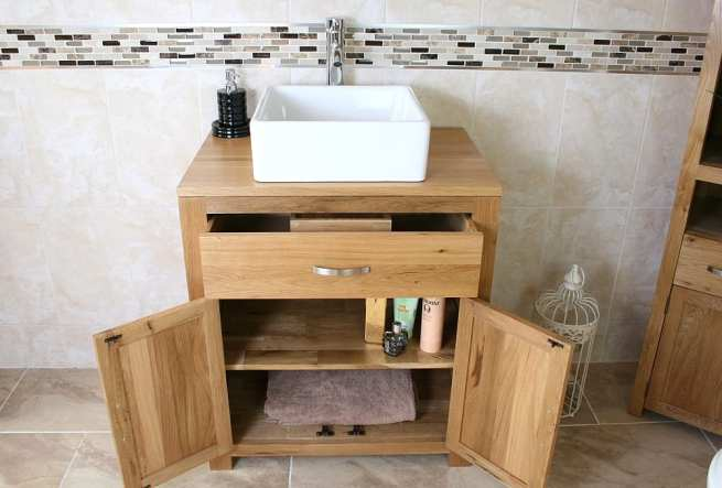 Above View of Square White Ceramic Basin on Oak Vanity Unit with Open Drawer & Doors