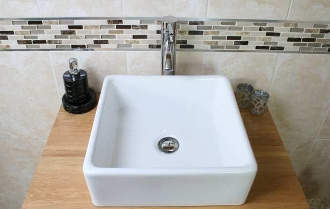 Square White Ceramic Bathroom Basin on Oak Top - Closeup