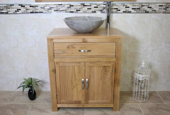 Front View of Grey Marble Basin on Oak Top Vanity Unit