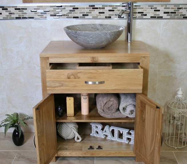 Grey Marble Basin on Oak Top Vanity Unit - Showing Storage