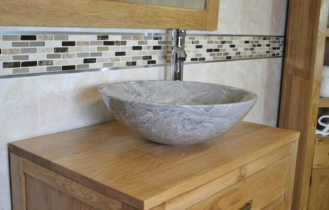 Close-up Side View of Grey Marble Basin on Oak Top Vanity Unit