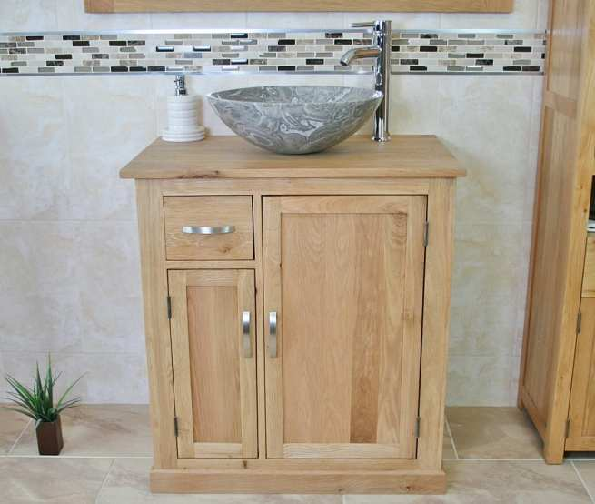 Grey Marble Basin on Oak Top Vanity Unit