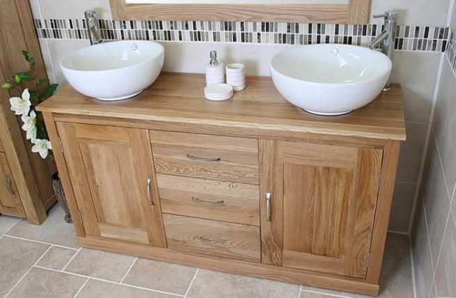 Twin Round Ceramic Basin Oak Top Vanity Unit