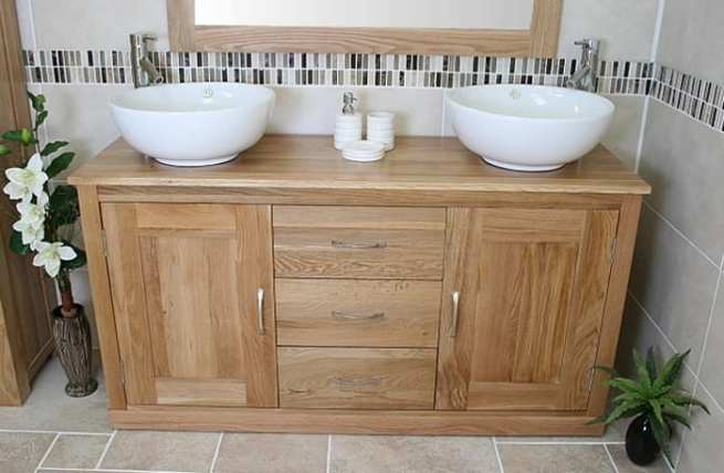 Front View of Two Round Basins on Oak Top Vanity Unit