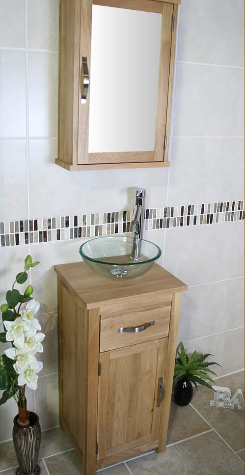 Side View of Glass Basin on Compact Oak Top Vanity Unit with Oak Mirror Cabinet