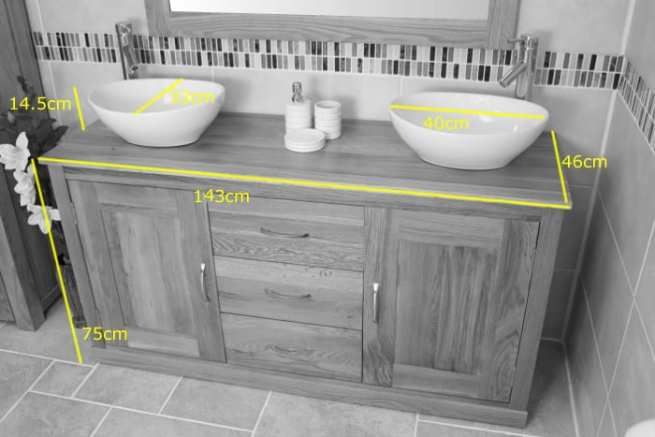 Twin Oval Ceramic Basins on Oak Top Vanity Units - Measurements