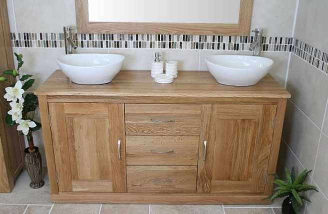Stunning Large Oak Top Vanity Unit with Double Oval Ceramic Basins