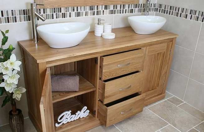 Solid Double Ceramic Oval Basins Oak Top Vanity unit with Storage
