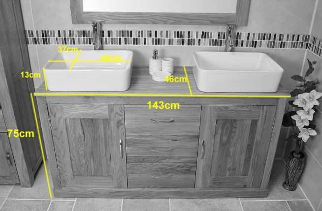 Measurements of Double Rectangle Ceramic Basins on Oak Top Vanity Unit
