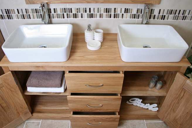 Above View of Two Rectangle Ceramic Basins on Oak Top Vanity Unit