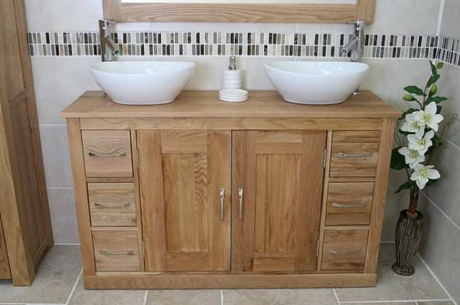 Large Oak Top Vanity Unit with Two White Oval Ceramic Basins - Front View