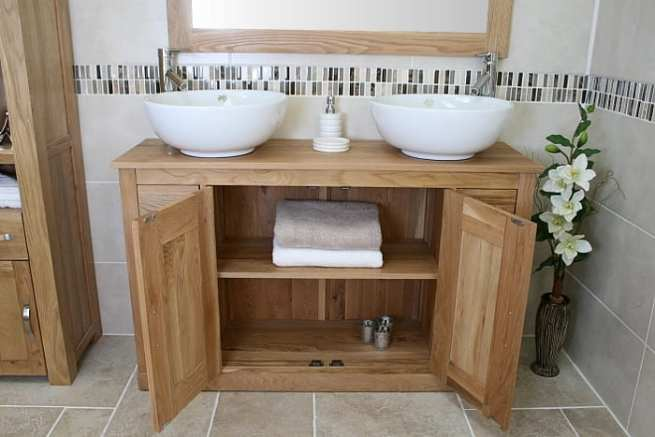 Big Oak Top Vanity Unit with Two White Round Ceramic Basins - Lots of Storage