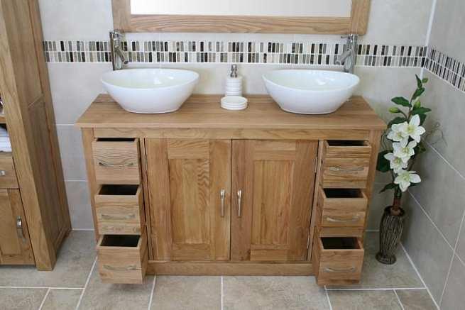 Two White Oval Ceramic Basins on Double Oak Top Vanity Unit