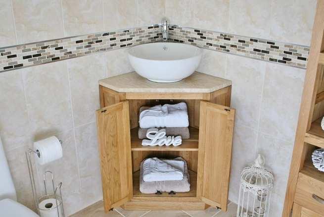Corner Vanity Unit with Travertine Top & Ceramic Curved Round Wash Basin