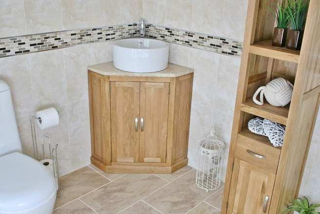 Travertine Top Corner Vanity Unit with Round Ceramic Wash Basin - Far View