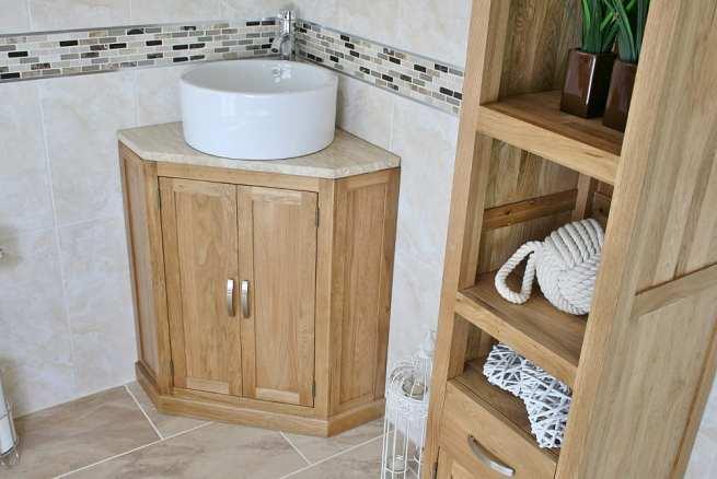 Corner Vanity Unit with Travertine Top and Round Ceramic Bathroom Basin - Side View