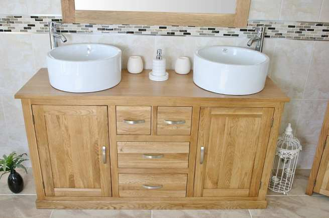 Two White Ceramic Bowls on Large Oak Topped Vanity Unit - Front View