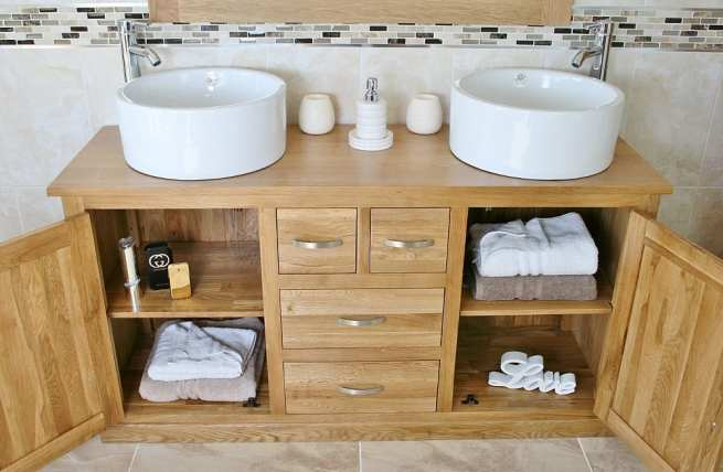 Open Doors on Large Oak Topped Vanity Unit with Two White Ceramic Bowls