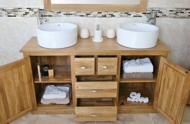 Showing all Storage in Oak Topped Vanity Unit with Two White Ceramic Bowls