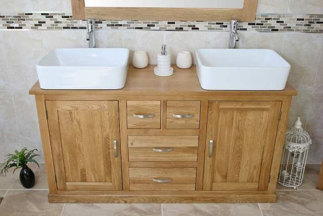 Two White Ceramic Rectangle Basins on Large Oak Topped Vanity Unit - Front View