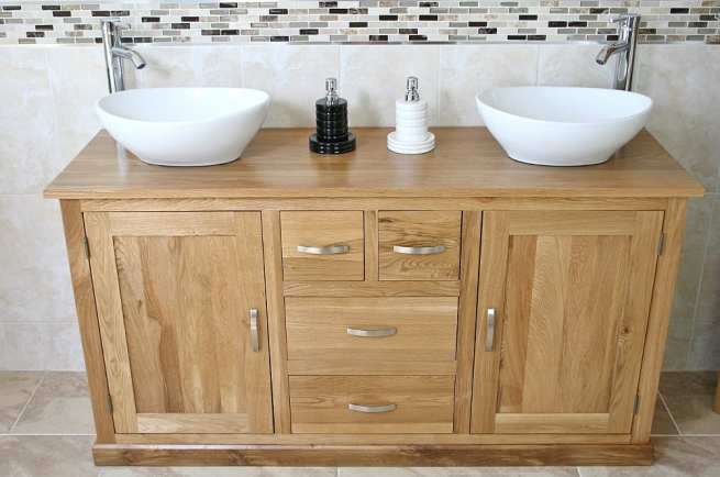 Large Oak Topped Vanity unit with Two White Ceramic Oval Basins