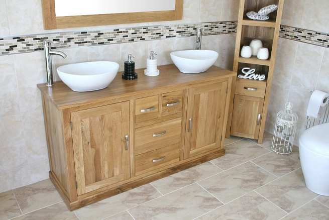 Large Oak Topped Vanity unit with Two White Ceramic Oval Bathroom Basins