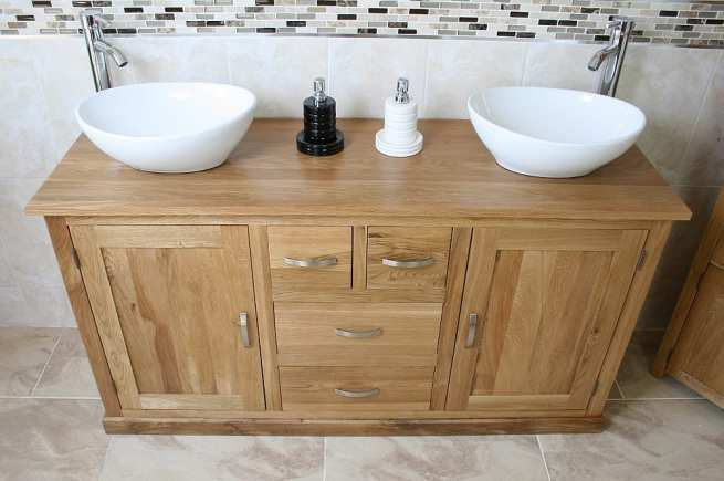 Two White Ceramic Oval Basins on Large Oak Topped Vanity Unit - Front View