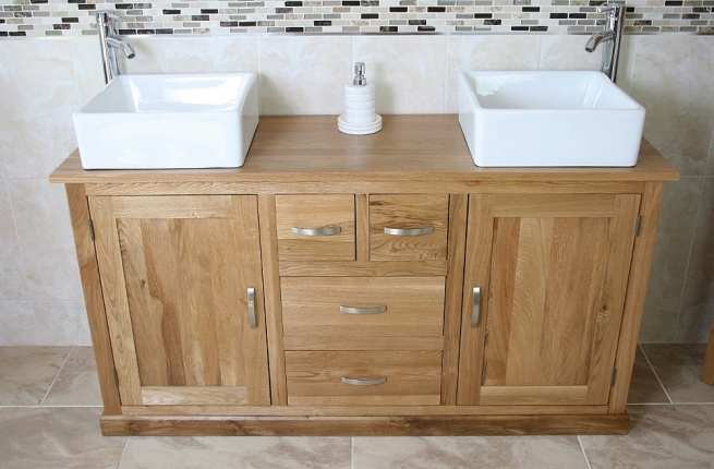 Large Oak Topped Vanity unit with Two White Ceramic Square Basins