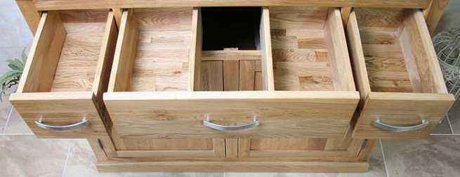 View of Drawers Opened on Our Oak Vanity Units
