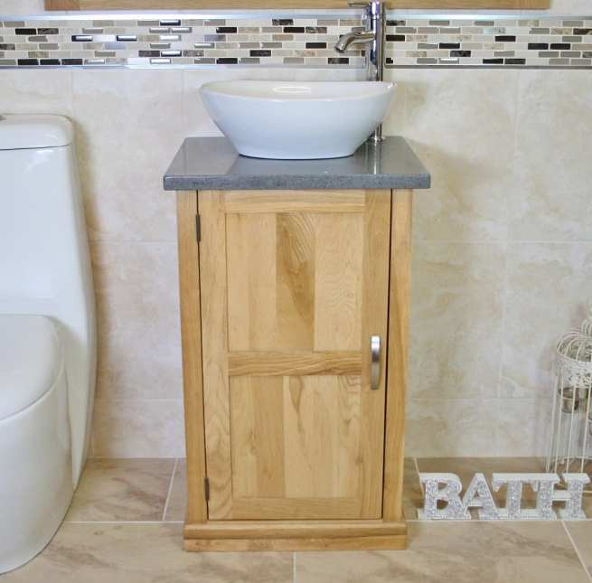 Grey Quartz Topped Small Oak Vanity with Oval Ceramic Basin