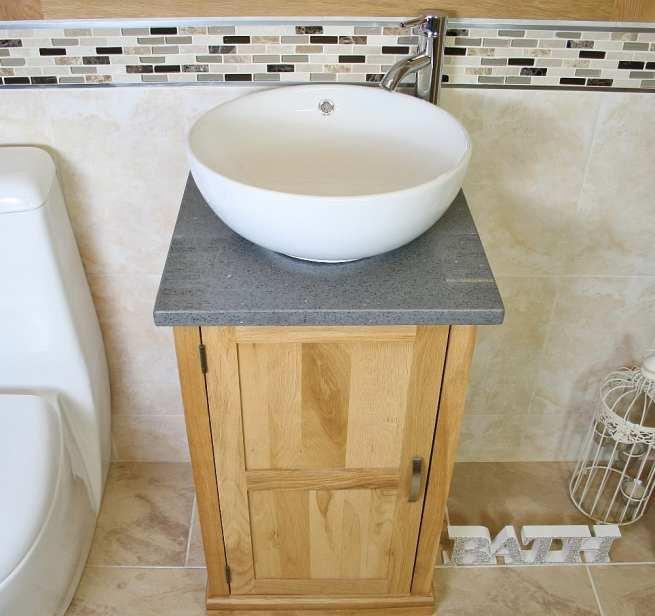 Round Curved White Ceramic Basin on Grey Quartz Topped Compact Oak Vanity Unit