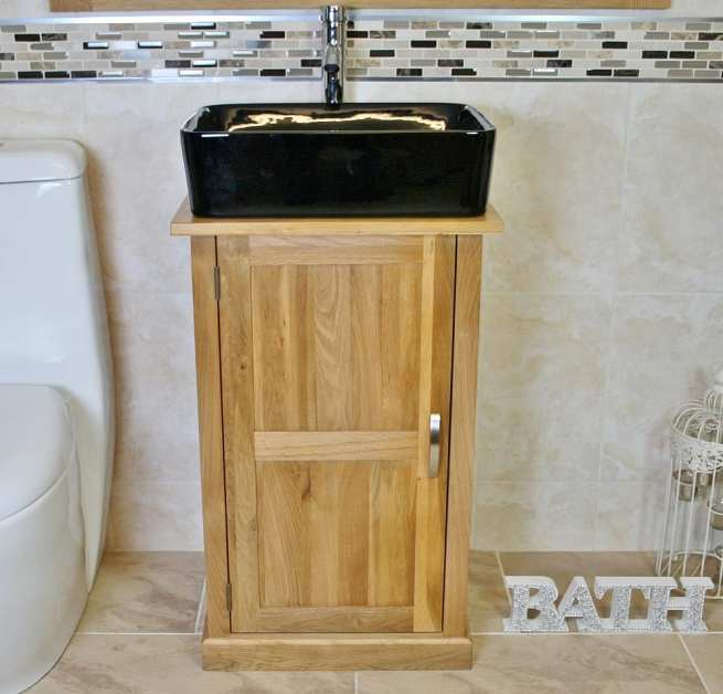 Oak Top Vanity Unit with Rectangle Black Ceramic Basin and Tap Set