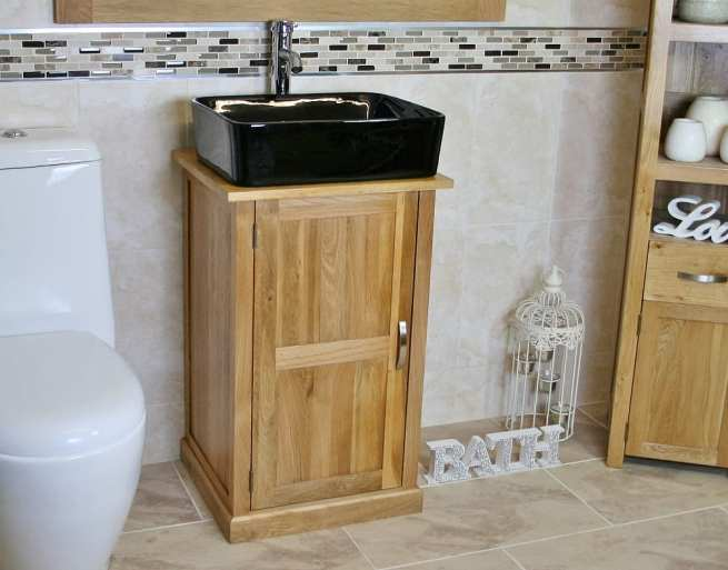 Oak Top Bathroom Vanity Unit with Black Rectangle Ceramic Basin and Chrome Tap Set - Side View