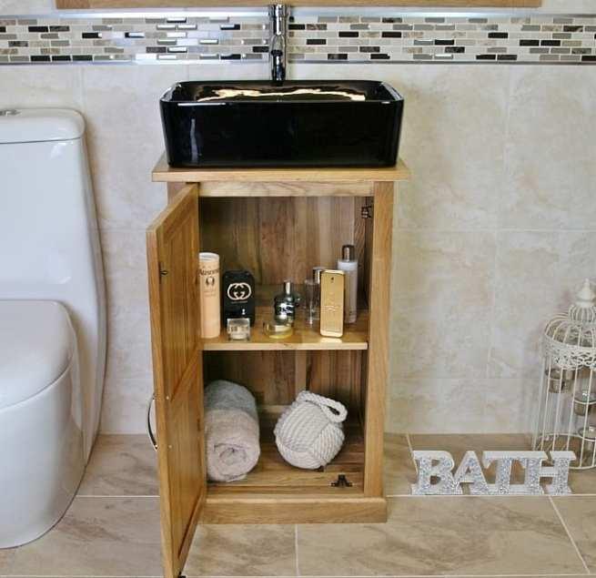 Oak Top Vanity Unit with Rectangle Black Ceramic Basin and Chrome Tap Set - Showing Unit Storage