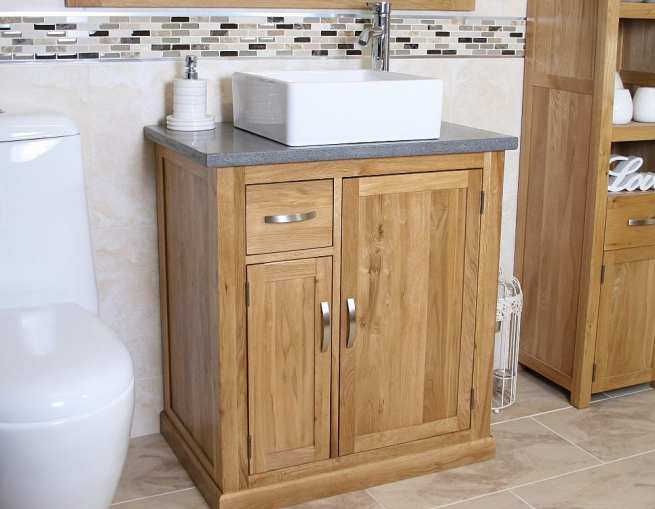 Grey Quartz Top Vanity Unit & Square White Ceramic Bathroom Basin