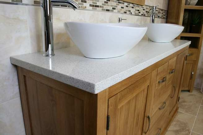 Close-up View of White Ceramic Basins on Large White Quartz Top, Oak Vanity Unit