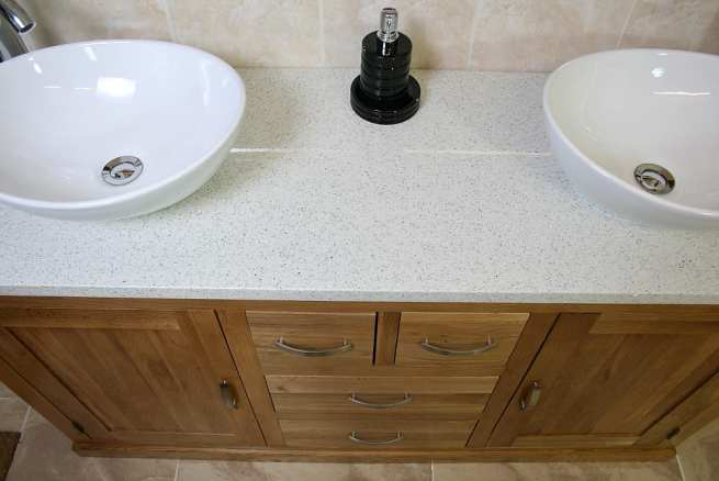 Above View of White Quartz Top, Double Ceramic Basin Oak Bathroom Vanity Unit